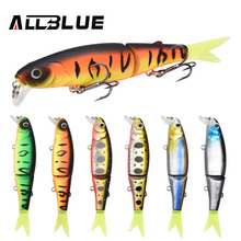 ALLBLUE Good Quality Professional Suspend Minnow Fishing Lure 90mm 7.7g Swim Jointed Bait Armed With Black Treble Hook Soft Tail