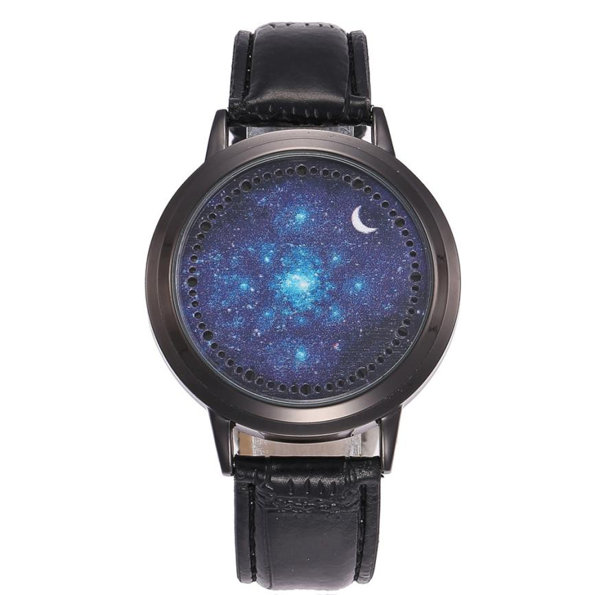 2018 Curren Men Watches LED Starry Sky Moon Unisex Leather Band Watch Analog Quartz Vogue Watches Gifts 30p