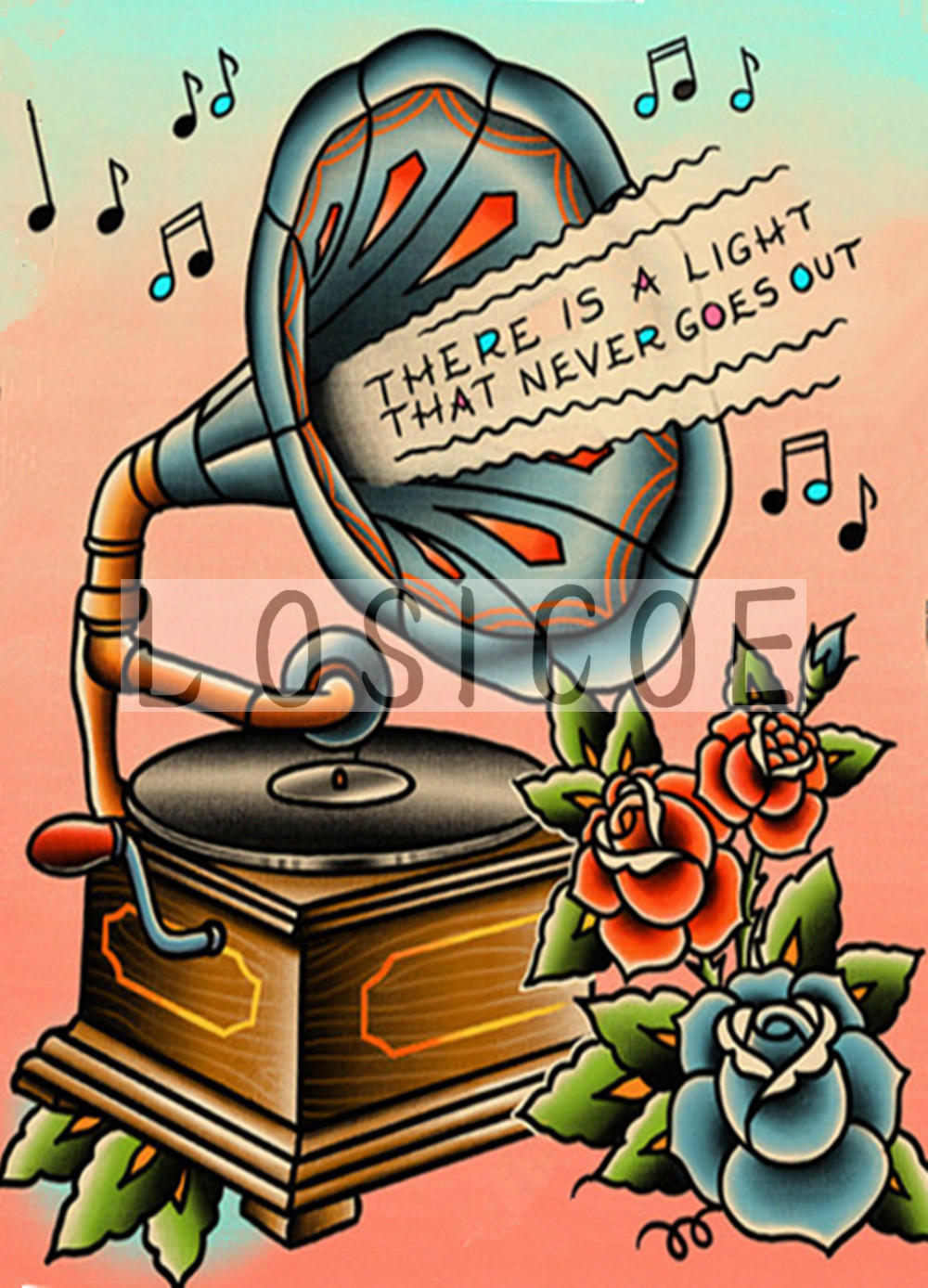 THE RE IS A LIGHT THAT NEVER GOESOUT vintage tattoos pattern kraft paper poster wall sticker print painting barber shop decor