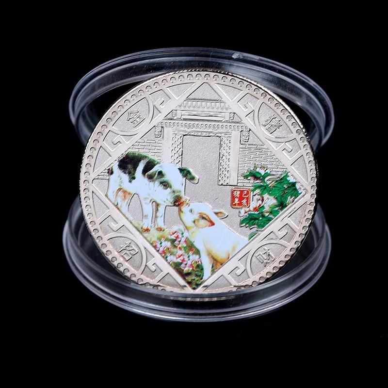 2019 Pig Souvenir Coin Chinese Zodiac Commemorative Coin Lucky Gifts Silver Ki