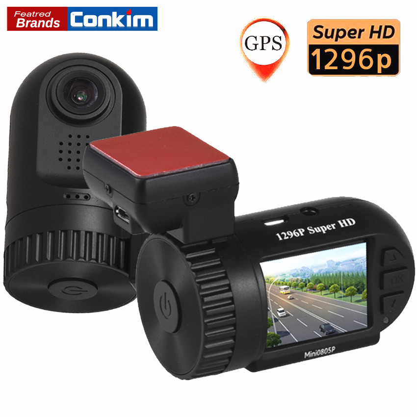 Conkim Mini 0805P Auto Dash Camera GPS Recorder 1296P 1080P Full HD DVR Capacitor Hidden Car Cam Registrator 1.5 Car Black Box conkim novatek 96655 dvr dash cam camera wifi gps auto registrar 1080p full hd video recorder 24h parking guard mini 0903 nanoq