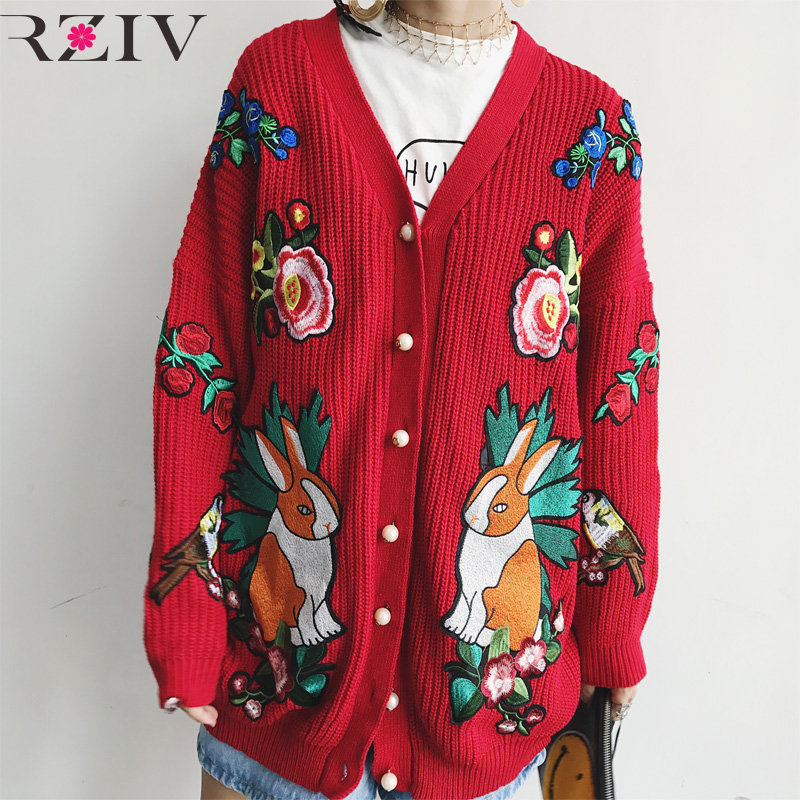 RZIV 2017 autumn cardigan women casual knitted sweater women long sleeve womens clothing embroidery long cardigan