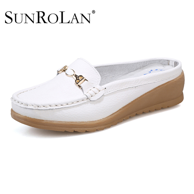 2017 Leisure Slippers Genuine Leather Women Wedges Sandals Slip-on Round Toe Spring Shoes Woman Comfortable Sandals BFS3680