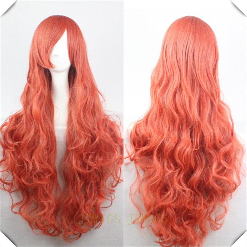 Orange Wig Cosplay Synthetic Sexy Party Hair Women S Long