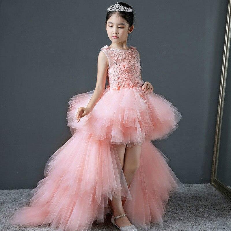Girls evening dress princess dress children's tail wedding dress fluffy show piano costumes flower girl girl communion dress