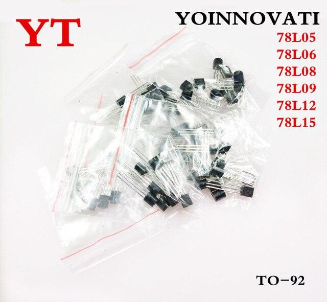 Free shipping 60pcs 78L05 78L06 78L08 78L09 78L12 78L15 6values each 10pcs Transistor package Assorted Kit