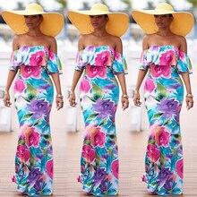 Office Dress Women Summer Boho Long Maxi Party Beach Dress Off Shoulder Evening Floral Dresses Vestidos Mujer