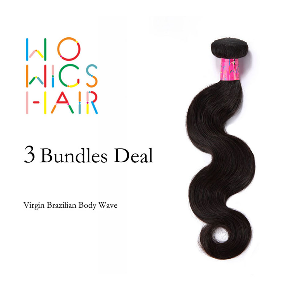 WoWigs Hair Brazilian Virgin Hair Body Wave 3 Bundles Deal Natural Color 1B