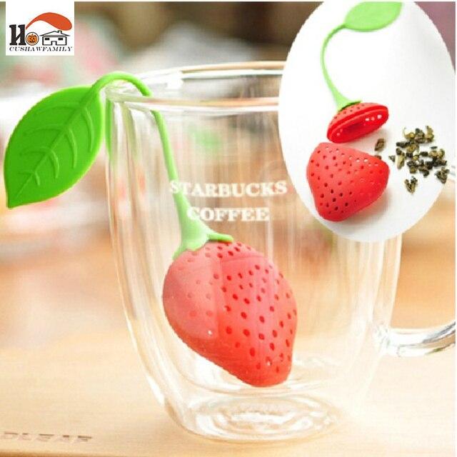 1 SZTUK Śliczne silikonowe truskawki na torebkę wiszące zaparzaczem herbaty imbryk filtr herbata narzędzia Novelty gadżety kuchenne z gospodarstw domowych