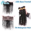 7А Класс Шелк База Закрытие Фронтальная С Bundles3/4 серии, малайзийские Волосы Шелк Bae На Топ Кружева Фронтальная Закрытие С Пучками