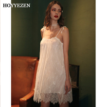 Hoyyezen 2019 new ladies sexy sleepwear transparent lace sling strap slash neck embroidered nightdress + panties suit