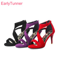 Brand New Summer Rome Red Purple Women Dress Sandals Comfortable Black Lady Shoes Stiletto Heel EY103 Plus Big Size 32 43 10