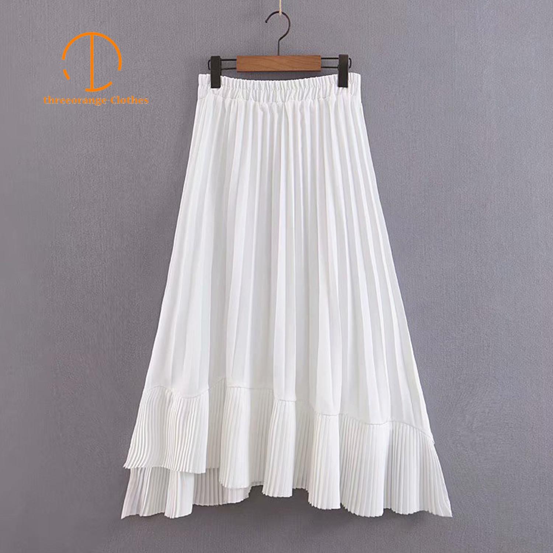 Summer white skirt women fashion elegant A line pleated asymmetric design Elastic waist casual loose draped Midi skirt vestidos