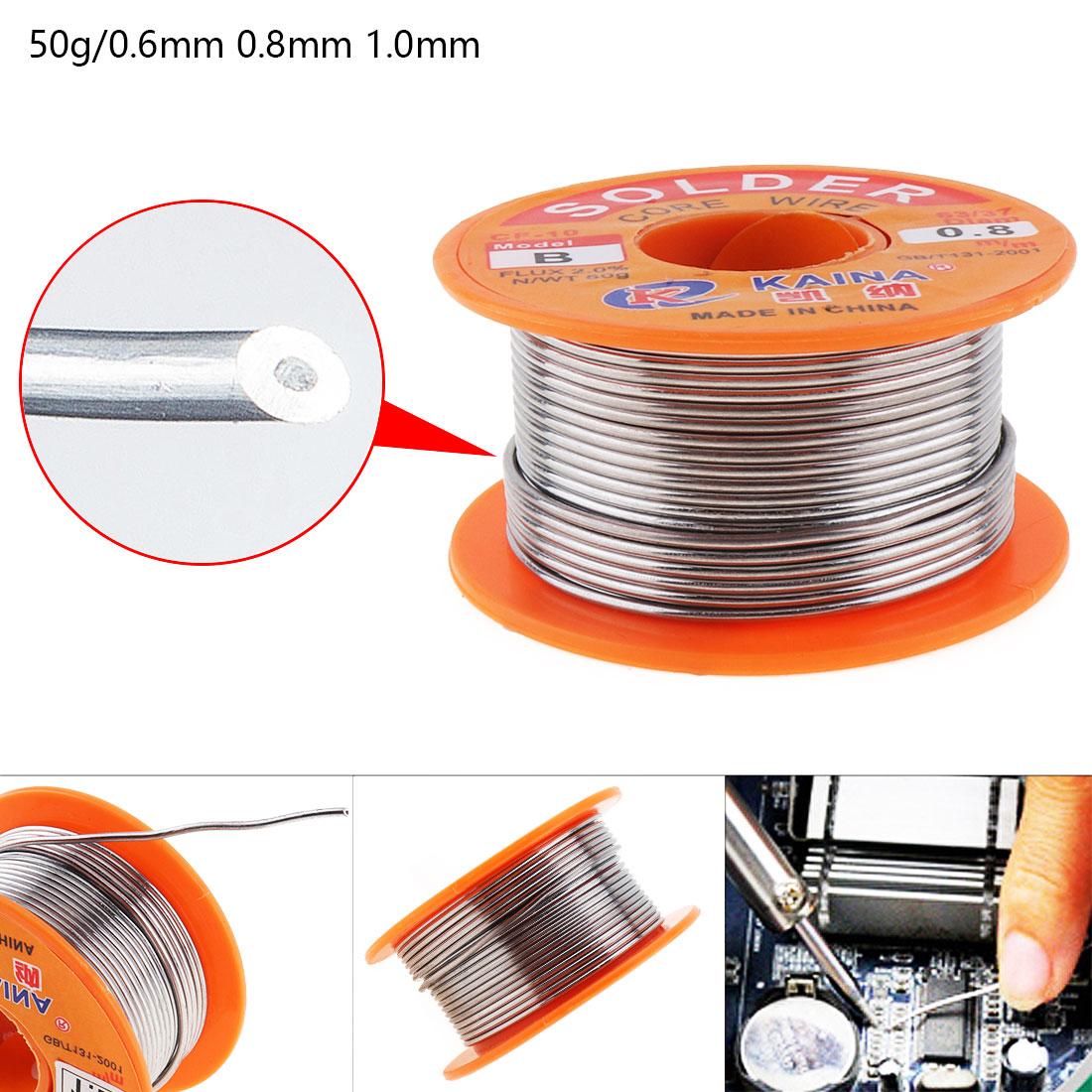 50g 6337 Tin Fine Wire Core 0.6-1mm 2% Flux Reel Welding Line Solder Wire