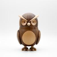 New Created Walnut Wood Owl House Decoration Display Art Craft Toy Birthday Gift Wooden Cartoon Owl