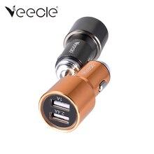 Veecle Imitação de Aço de Segurança Do Carro Carregador de 2 Porta USB 2 Vias Do Cigarro Do Carro Mais Leve Adaptador de Energia Hub Moeda Do Telefone Móvel