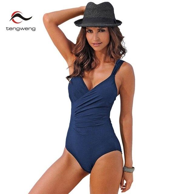 02fa70283047b Tengweng 2018 New Sexy Black One piece Women swimsuit Thong Plus size  Swimwear Sports tankini Push up Female Bathing suit cheap