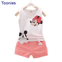Hot Sale New Summer Toddler Girls Clothing Sets Cartoon Vest Shorts 2 Pcs Kid Suits Children