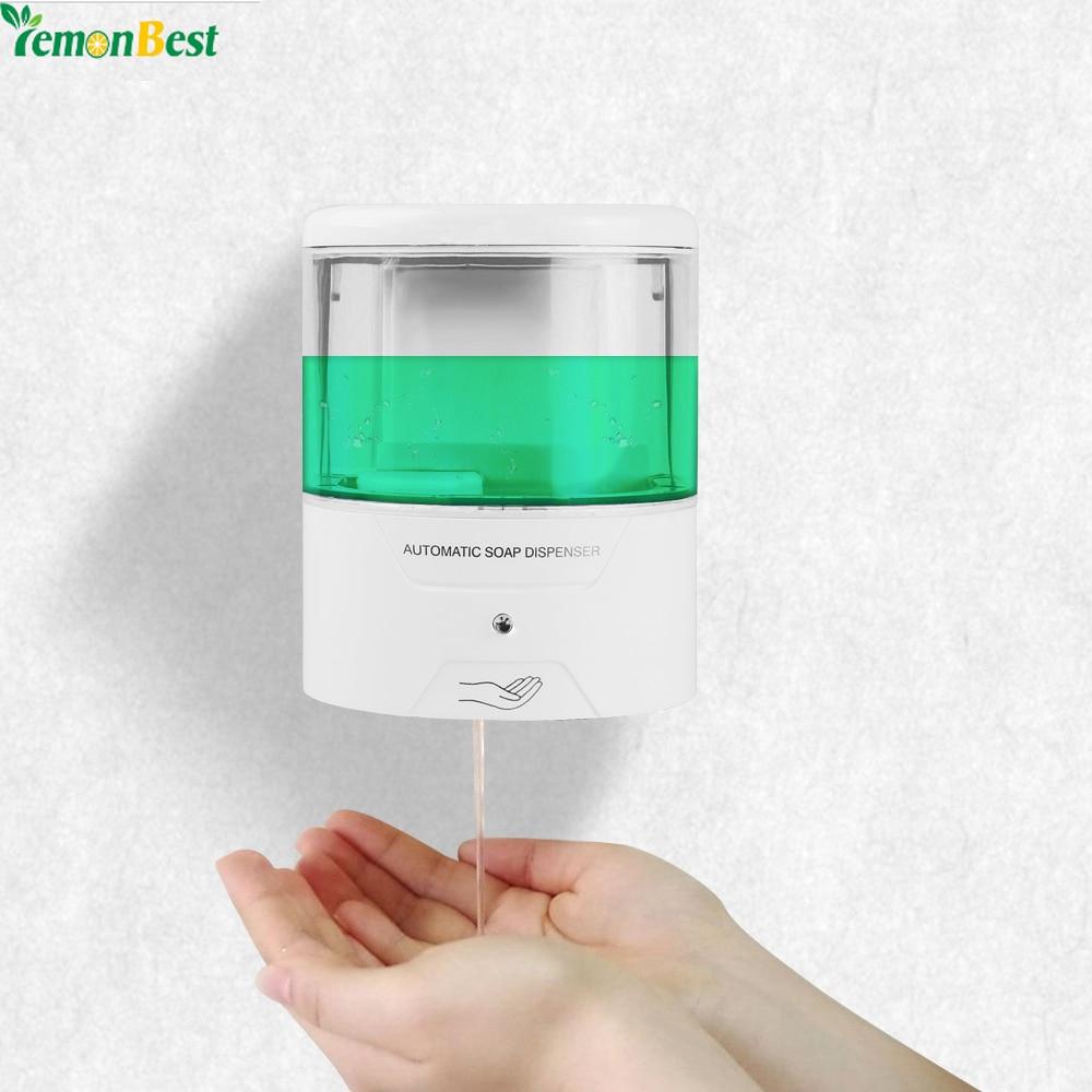 Badezimmerarmaturen Genossenschaft Neue Batterie Powered 600 Ml Wand-mount Automatische Ir Sensor Seife Dispenser Touch-freies Küche Seife Lotion Pumpe Für Küche Bad