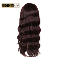 MORICHY #99J Brazilian Body Wave Human Hair Wigs with Bangs For Women Pre Plucked Brazilian Remy Wigs With Non Lace Frontal Wig