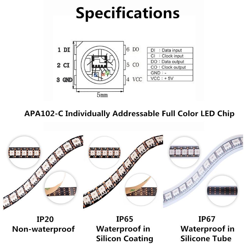 O APA102 SK9822 Bande de pixels DEL intelligente 30/60/144 DEL / - Éclairage LED - Photo 2