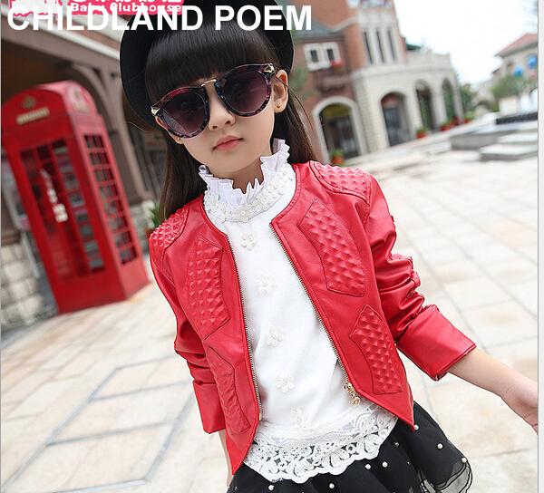 4-12Y roupas da moda meninas 2016 Outono/Primavera casacos meninas linda princesa casaco para Crianças sólidos algodão de alta qualidade crianças jaqueta