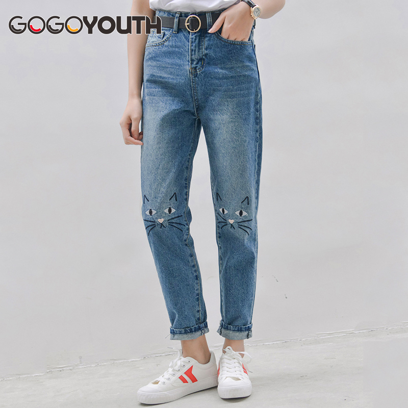 Gogoyouth High Waist Jeans Female 2018 Autumn Winter Boyfriend Jeans For Women Denim Pants Mom Jeans Femme With Cat Embroidery