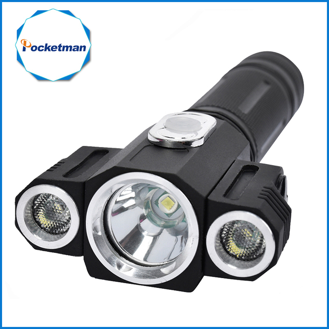 High Quality Tactical 10000 Lumen  3 LEDs rotating T6+2*XPE LED Flashlight Torch Light 5 Modes 18650 Hunting