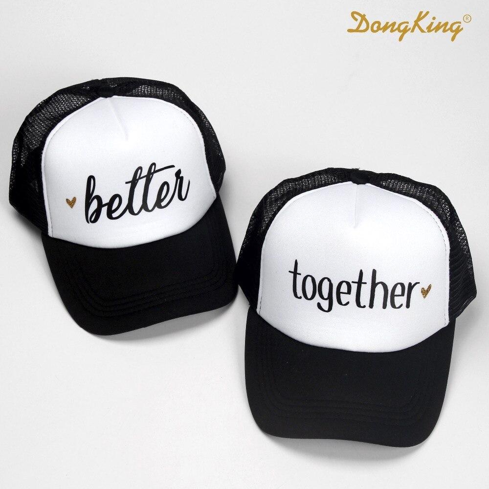 081737a8e6ae7 Dongking moda gorros mejor juntos letras imprimir Top calidad gorras marido  y mujer de la boda romántico regalo para parejas en Gorras de béisbol de ...