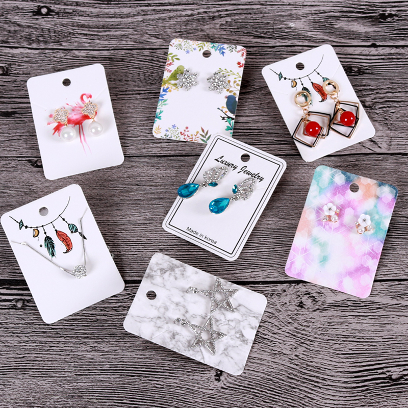 High Quality 100Pcs/lot 5x7cm Jewelry Cards Paper Earrings Card Ear Studs Necklaces Display Packaging Cards Can Custom Logo image