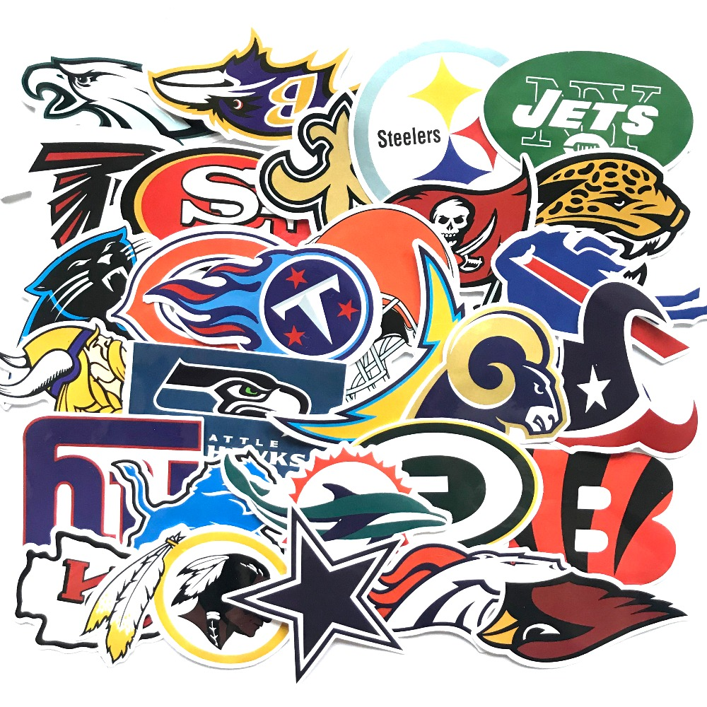 32pcs/Lot Brand Graffiti NBA Club Logo Stickers Scrapbooking Guitar Skateboard Waterproof PVC Laptop Luggage Stickers Pack Cool
