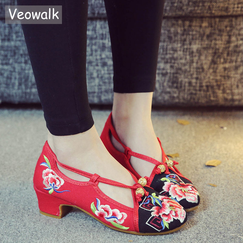 Veowalk Low Block Heels Women Canvas Embroidered Pumps Shoes Elegant Ladies Casual Cotton Floral Embroidery Shoes With Strap