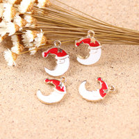 Free Shipping 50pcs 10 12mm Christmas Hat Decoration Sleeping Moon Shape Alloy Jewelry Bracelet Charms Metal