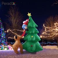 2018 Drop Shipping Santa Climbing Tree Inflatable Toys Holiday Puppy Bites Santa 180cm Cute Christmas Inflatable Christmas Tree