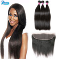 Brazilian Straight Virgin Hair 3 Bundles With 4*13 Lace Frontal Closure With Bundles Straight Brazilian Virgin Hair With Closure