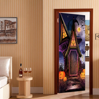 2pcs/set New Pumpkin Wall Sticker Halloween Party Decoration Witch Scarecrow Decal Wall Door Sticker Halloween Decoration