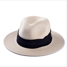 2016 Women's Fashion Brand 2 Color Women's Summer Beach Panama Brimmed Straw Sun Hat Female Folding Cover Bow Ribbon