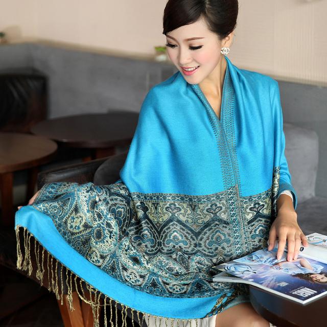 Corrieron chal Bufandas de invierno de las mujeres de Bohemia del Algodón de Impresión 100% de Las Mujeres Ultra Largo foulard pañuelo bufanda Térmica de Doble Capa Grande