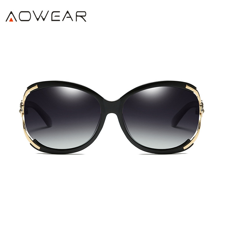 Aowear Для женщин Поляризованные овальные Защита от солнца galsses Роскошный цветок камелии женский Защита от солнца Очки цветок кристалл украшения очки Óculos De Sol - Цвет линз: Black
