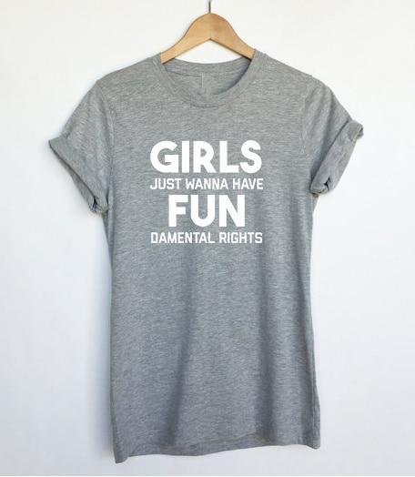 90d6f5eb9 Feminism Shirts Feminist Shirt Girls Just Wanna Have Fundamental Rights Women  T Shirts Casual Cotton Funny