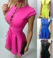 2016 nova moda de alta qualidade mulheres verão doce cor oco out bandage lace up plissado túnica mini vestidos vestidos cortos