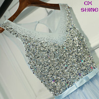 CX SHINE Custom Color Gray Blue V Neck Beading Sequins Long Evening Dresses Robe De Soiree