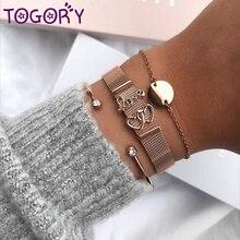 TOGORY подарок на день Святого Валентина, сетчатые браслеты из нержавеющей стали, очаровательные брендовые браслеты для мужчин и женщин