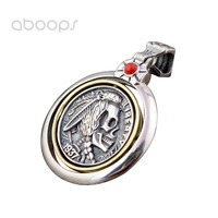 Two Tone 925 Sterling Silver Indian Chief Spinner Medal Pendant for Women Girls Free Shipping