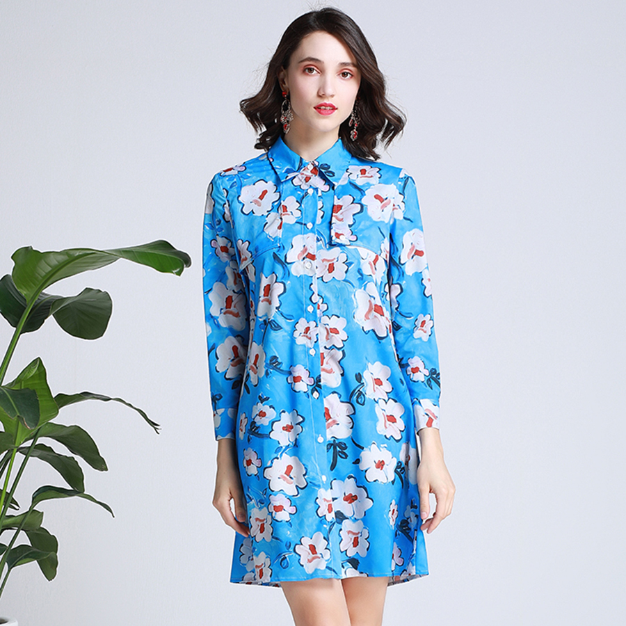 VERDEJULIAY bleu robes 2019 été mode à manches longues chemise robe piste Kapok imprimé a-ligne Mini mignon robe pour les femmes