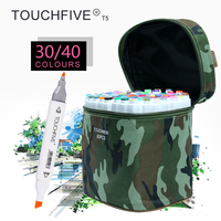 TOUCHFIVE T5S 30 40 Colors Dual Tip White Barrel Sketch Markers Camouflage Bag For Drawing Painting
