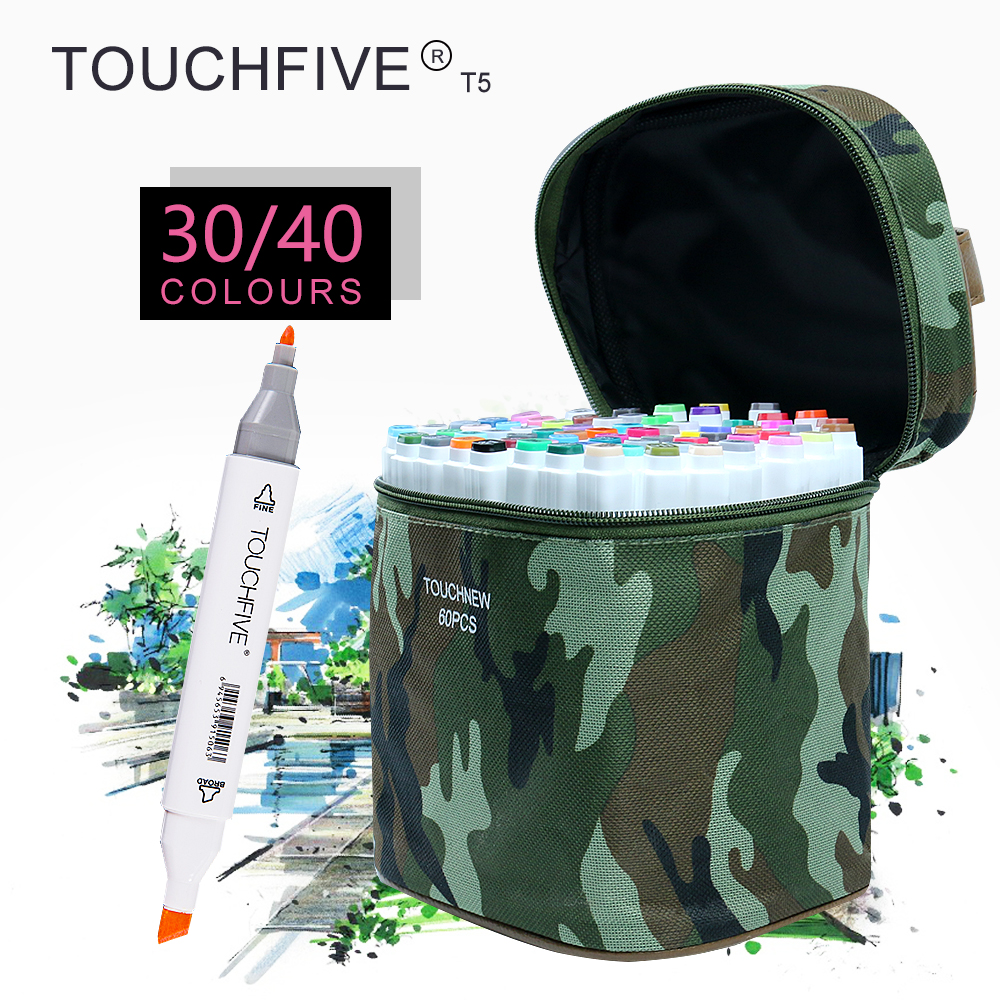 TOUCHFIVE T5S 30/40 colors dual-tip white barrel sketch markers camouflage bag for drawing painting design manga art supplies touchnew 60 colors artist dual head sketch markers for manga marker school drawing marker pen design supplies 5type