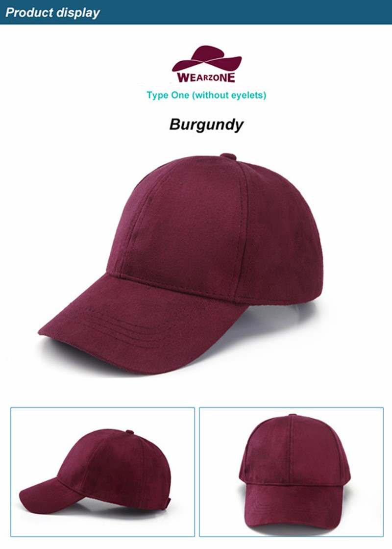 WEARZONE Unisex Soft Suede Baseball Cap Casual Solid Sports Hat Adjustable Breathable Dad Hats for Women Men 13