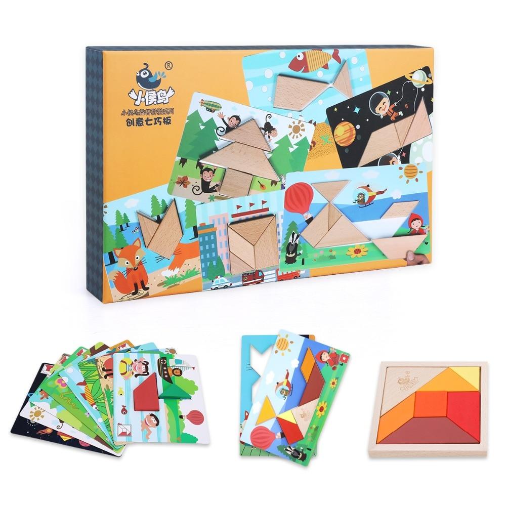 Jouets en bois jigsaw puzzle coloré tangram jouets éducatifs pour enfants puzzles pour enfants creative géométrie jouets dropshipping