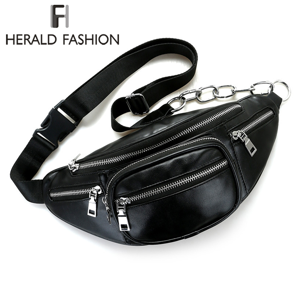 Herald Fashion Multi function Waist Pack Bags Belt Pouch PU Leather Travel Chest bag Hip Money Phone Belt bag|belt bag|fashion belt bag|fashion waist packs - title=